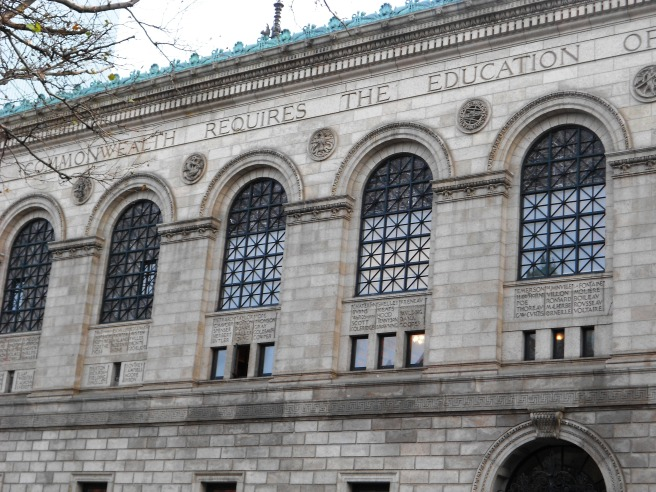 "Boston Public Library bearing the inscription on the north side ""THE COMMONWEALTH REQUIRES THE EDUCATION OF THE PEOPLE AS THE SAFEGUARD OF ORDER AND LIBERTY"""