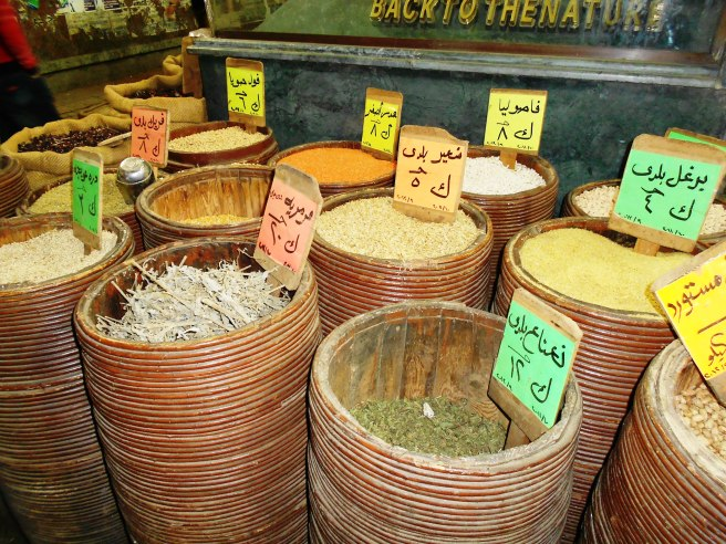 spices in baskets