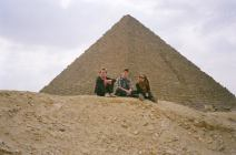 Three Kids out of Five by the pyramids
