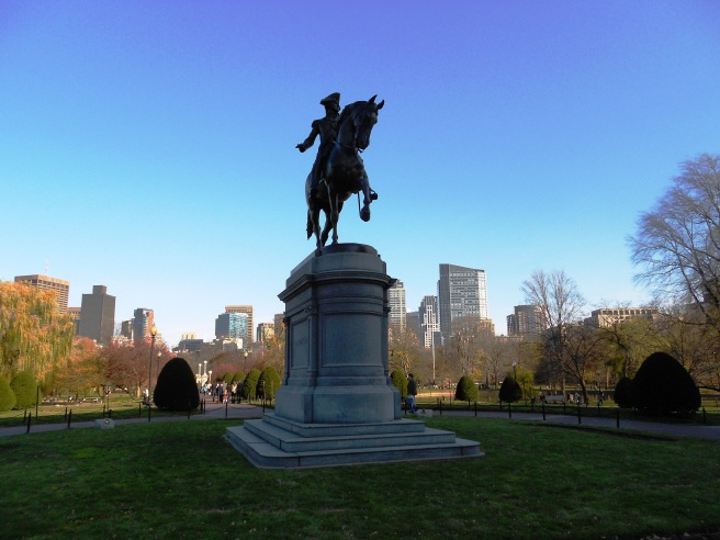 Statue and skyline of Boston