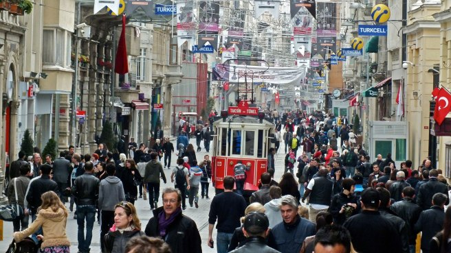 Istiklal Caddesi on Sunday afternoon