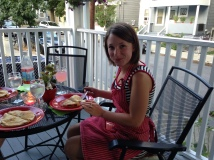 neighborhood - dinner on porch